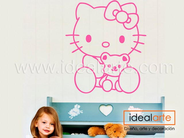 Vinilo decorativo de Hello Kitty y osito